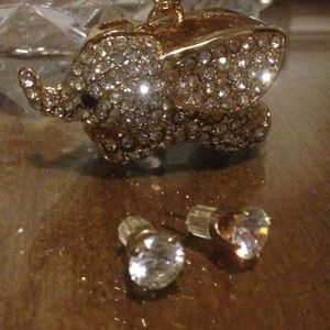 Elephant necklace and earring lot